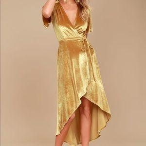 Lulus Amour Golden Velvet High Low Wrap Dress